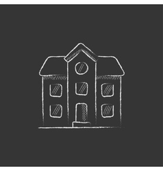 Two storey detached house Drawn in chalk icon vector image
