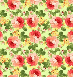 Vintage floral pattern with red roses vector image