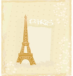 Vintage retro Eiffel in Paris card vector
