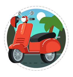 Vintage scooter icon in flat design vector