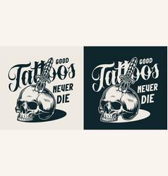 Vintage tattoo salon monochrome label vector