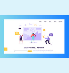 virtual reality landing page augmented reality vector image
