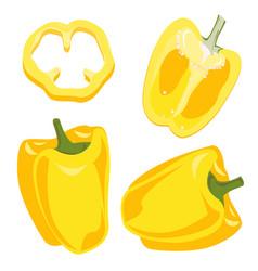 Yellow bell pepper vegetables set vector