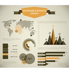 Yellow retro vintage set of Infographic elements vector image