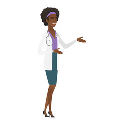young african-american happy doctor gesturing vector image