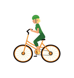 young girl in helmet riding urban bicycle isolated vector image
