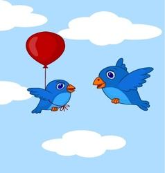 Baby bird cartoon learn how to fly using balloon vector image
