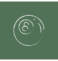 Billiard ball icon drawn in chalk vector image vector image