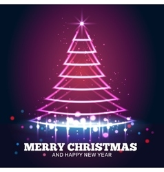 Christmas tree light red background vector image vector image