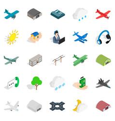 landing icons set isometric style vector image vector image