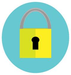 Padlock icon label vector image