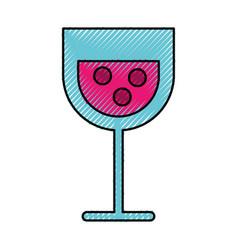 Scribble cartoon glass wine vector