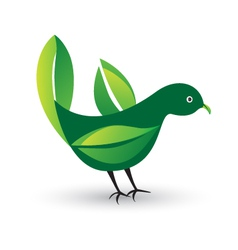 Bird with ecological leafs vector image vector image