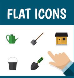 Flat icon dacha set of shovel pail bailer and vector
