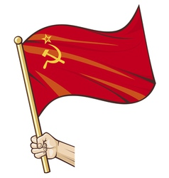 hand holding ussr flag vector image vector image