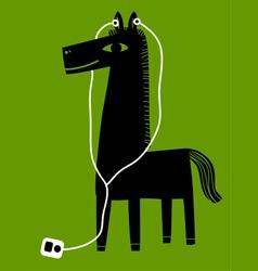 horse with earphones vector image vector image