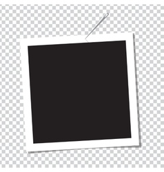 Realistic photo frame on pin vector image vector image