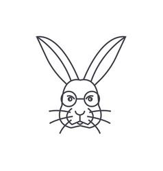 rabbit head line icon sign vector image