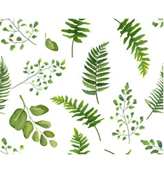 seamless greenery green leaves botanical rustic vector image vector image