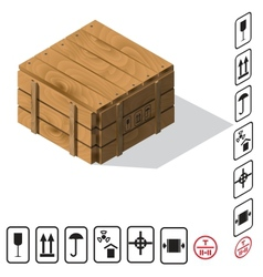 Wooden cargo box vector image