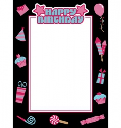 black and pink birthday frame vector image vector image