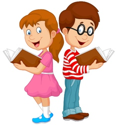 Cartoon kids reading book vector image vector image