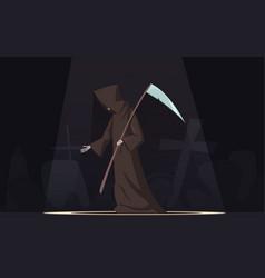 death with scythe symbol cartoon image vector image