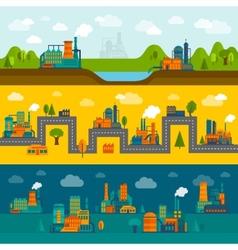 Flat industry banner set vector image