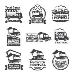 Food truck festival emblems and logos set vector