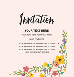 Invitation card template colorful floral vector