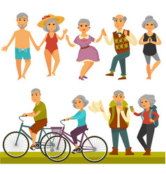 older people fun leisure and sport activity life vector image vector image