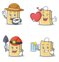 Set of bag character with explorer heart miner vector