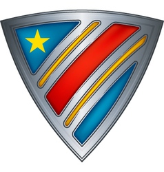 steel shield with flag congo vector image vector image