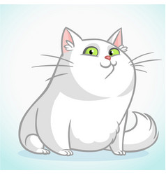 white fat cat with green cartoon vector image vector image