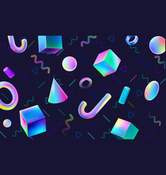 abstract colorful geometric 3d blocks holographic vector image