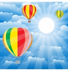 Aerostat balloons over sky Colorful vector