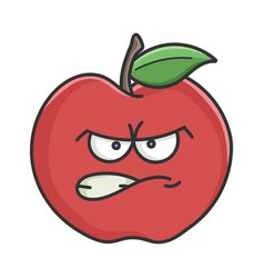 angry red apple cartoon apple vector image