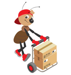 Ant loader rolls cart with cardboard boxes vector