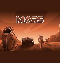 astronauts walk on mars vector image