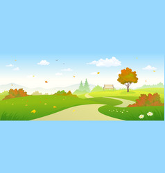 Autumn forest pathway vector