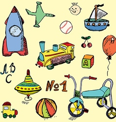 Baby child toys set hand drawn sketch colored and vector image