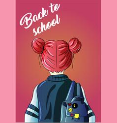 Back to school girl with a backpack kindergarten vector