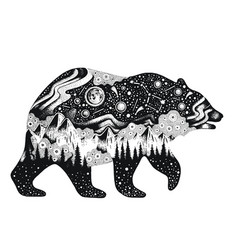 bear silhouette for t-shirt print or temporary vector image