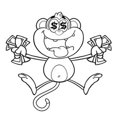 Black and white greedy monkey vector