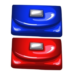 Blue and red shiny purses on white background vector