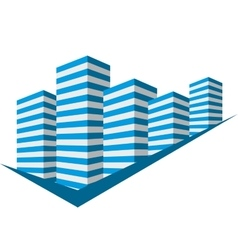 Blue sign with skyscrapers vector image
