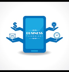 Business technology concept with mobile vector image