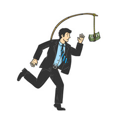 Businessman chasing money sketch vector