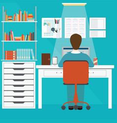 businessman working in home office vector image vector image
