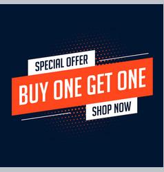 Buy one get one sale banner design vector